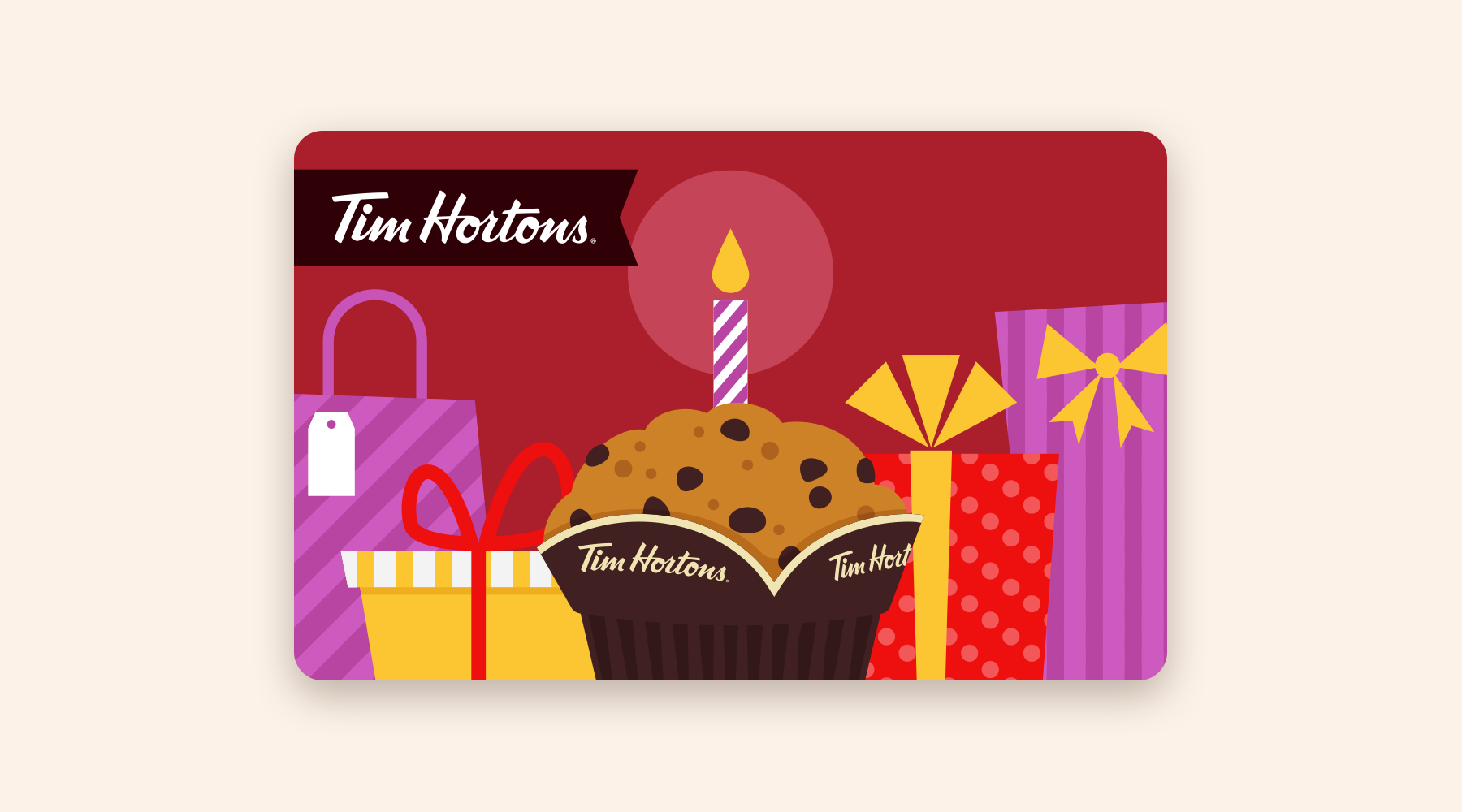 Gift card with a birthday candle in a chocolate chip muffin