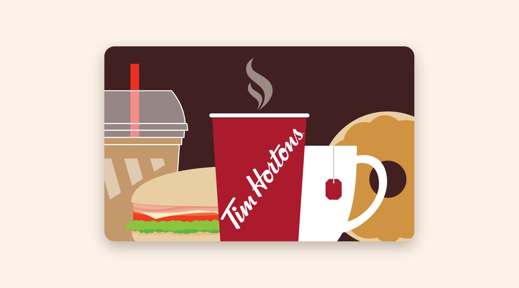 Gift card illustrated with various food and beverage items from Tim Hortons