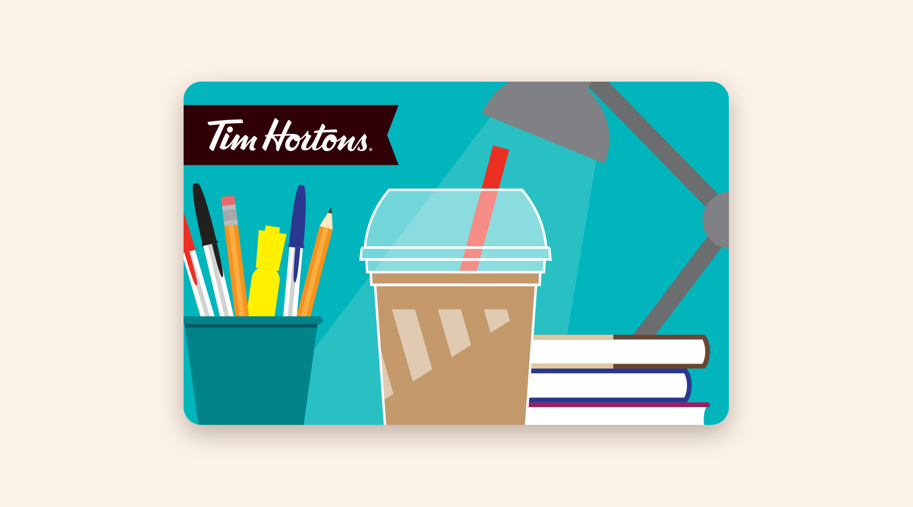 Gift card with an iced coffee in front of a pile of books and office supplies