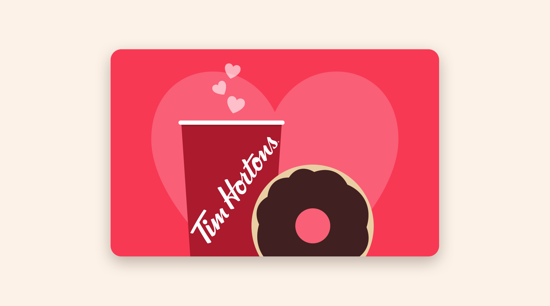 Valentine's Day gift card with a cup of coffee and a donut