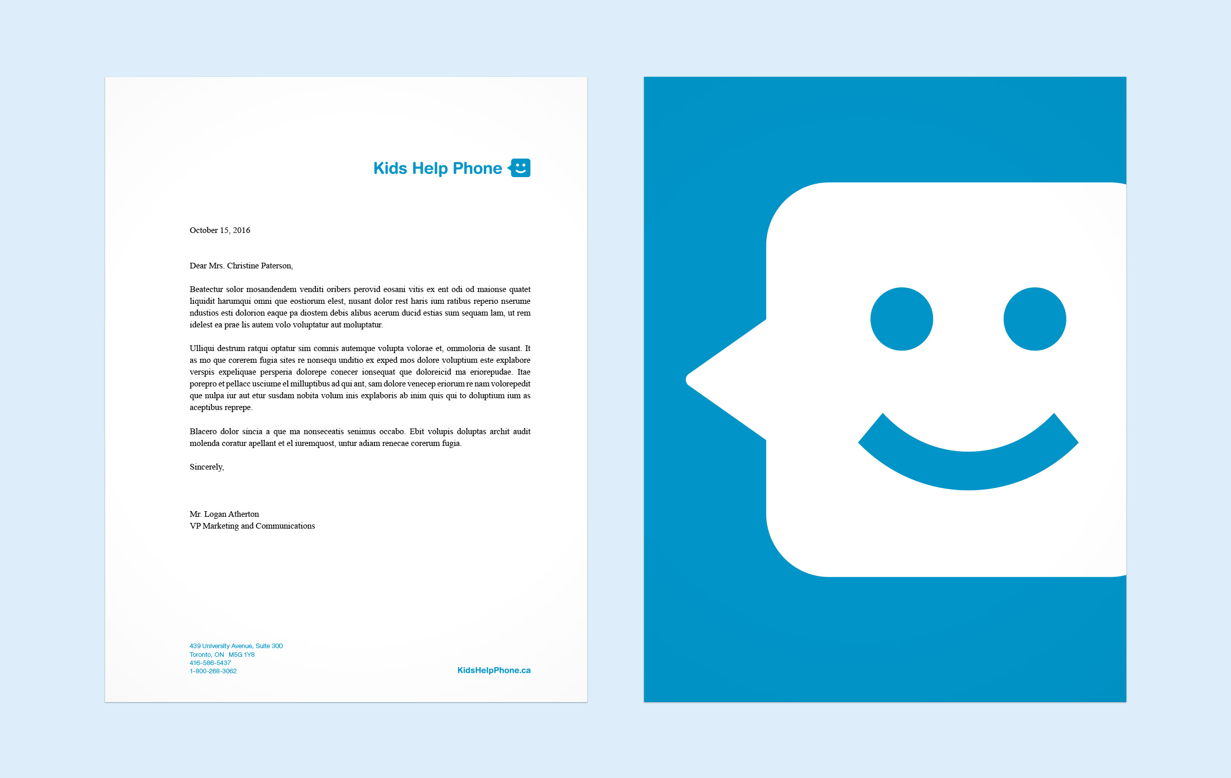 Front and back of letterhead