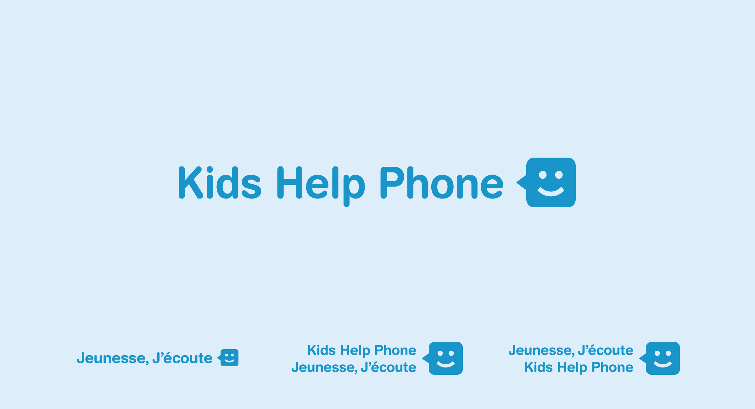 English, French, and bilingual Kids Help Phone logos