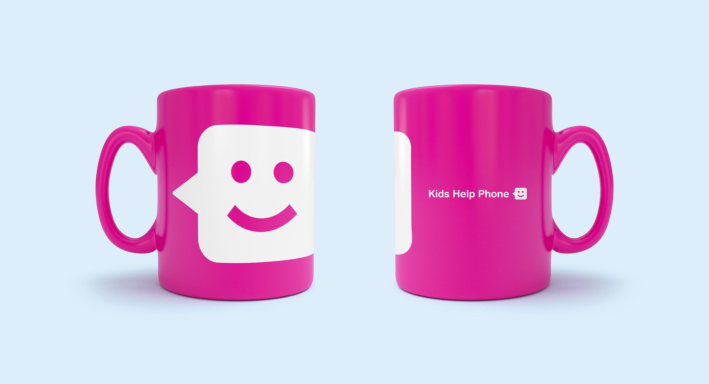 Pink mug with the Kids Help Phone logo