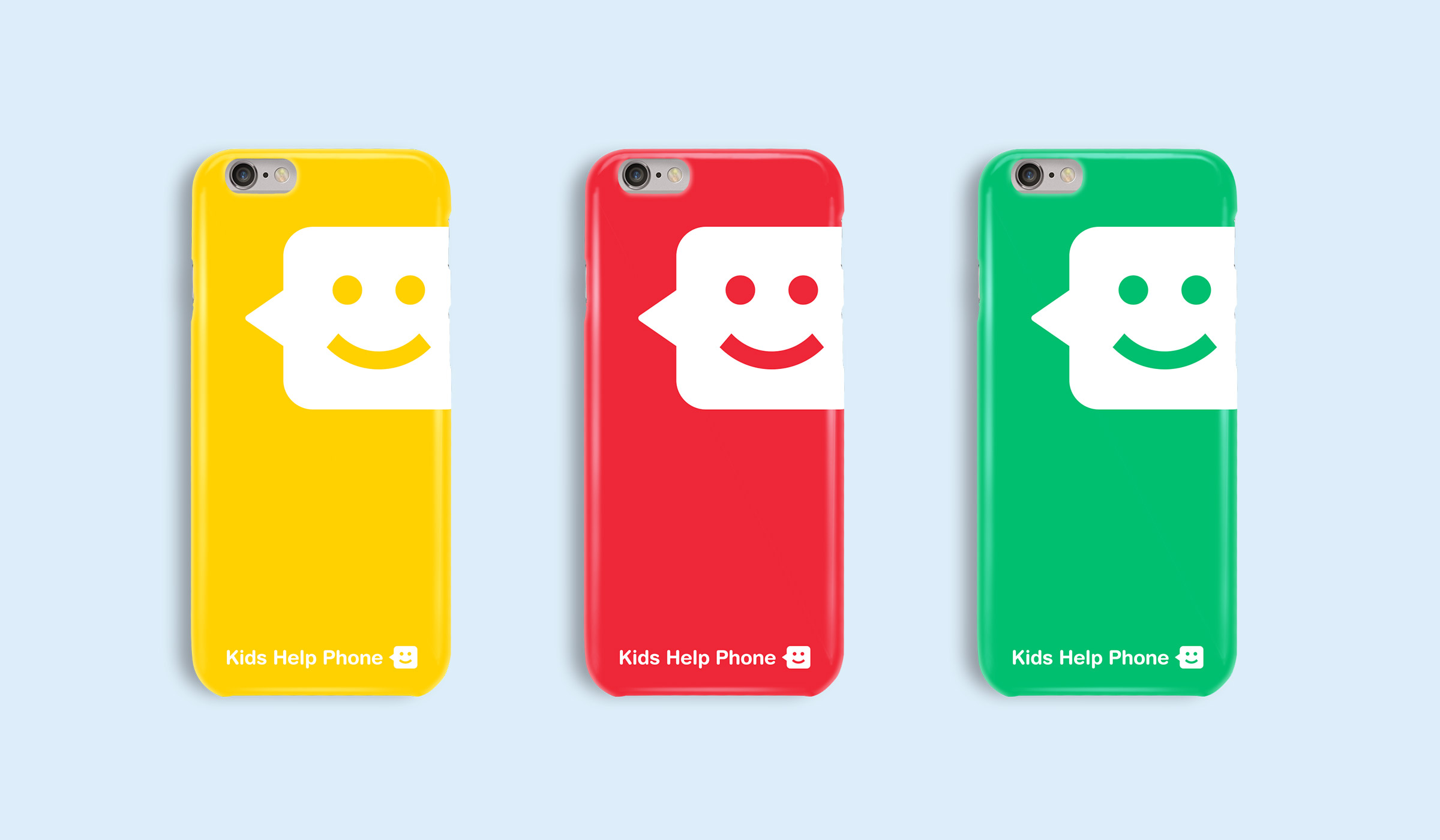 Phone cases with Kids Help Phone branding