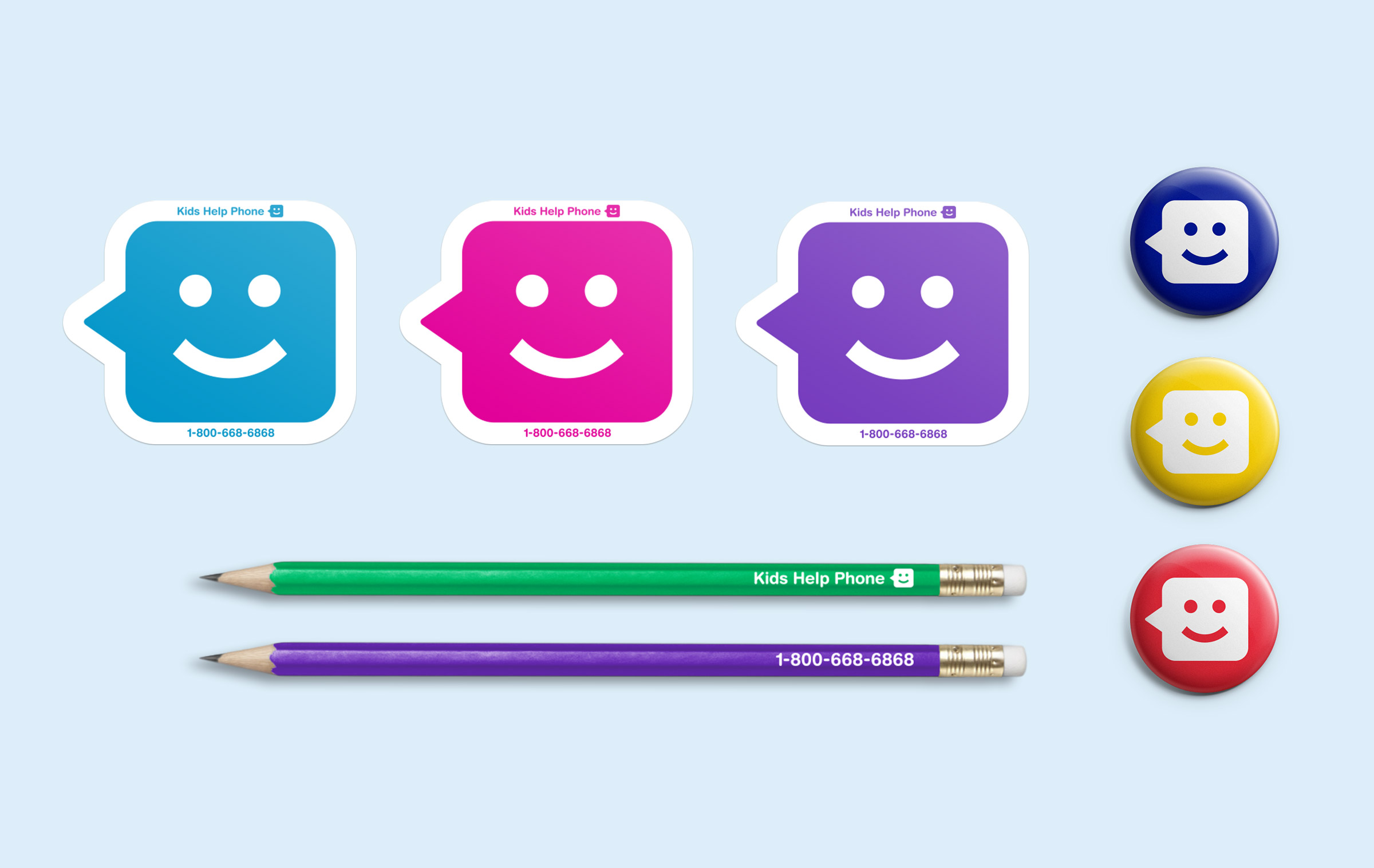 Stickers, badges, and pencils with Kids Help Phone branding