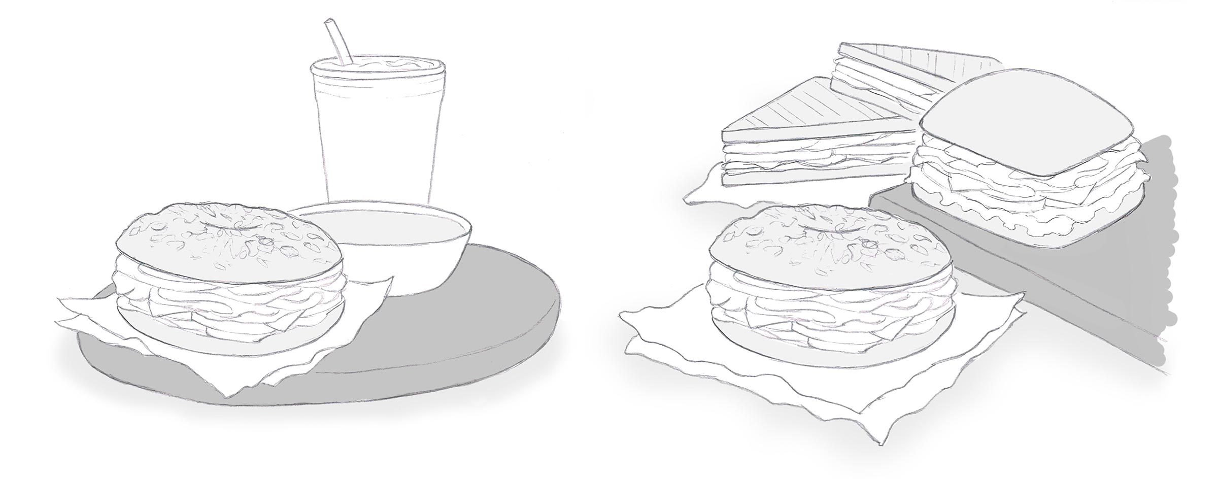 Hand-drawn sketches of sandwiches, a soup bowl and cold drink