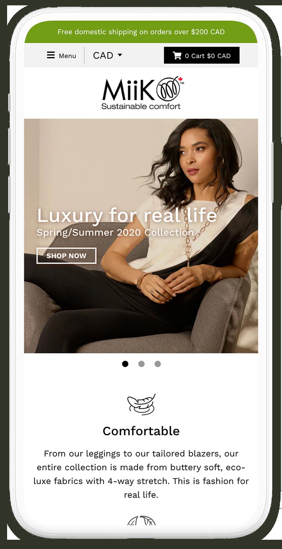 Miik homepage shown on an iPhone