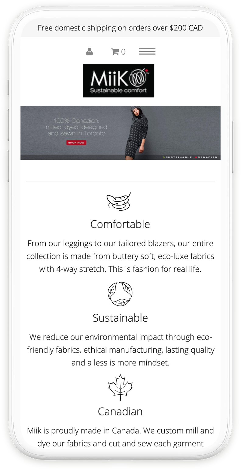 Previous homepage design viewed on an iPhone