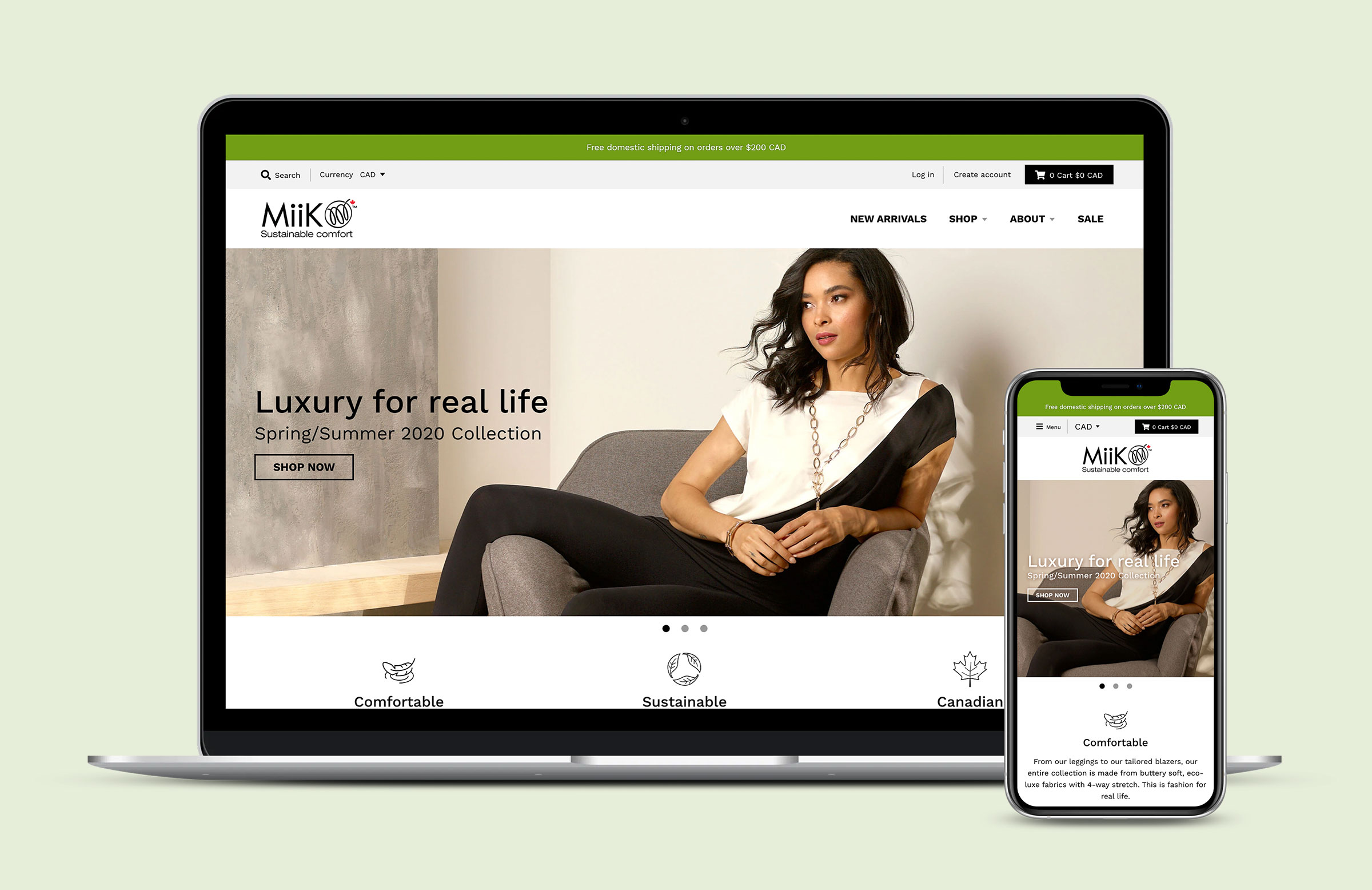 Miik homepage shown on a laptop and iPhone