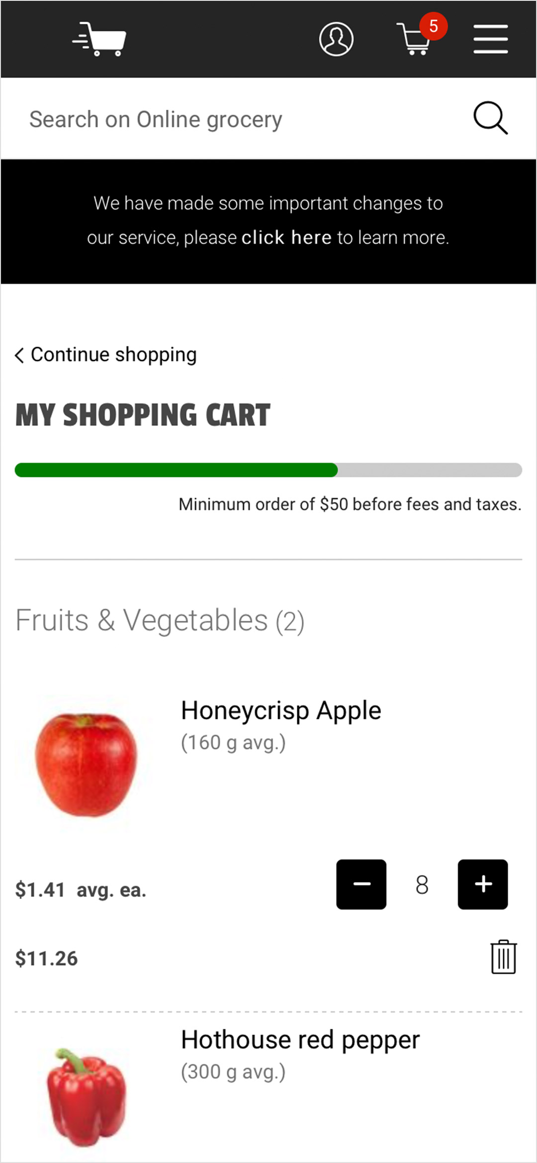 Original cart screen
