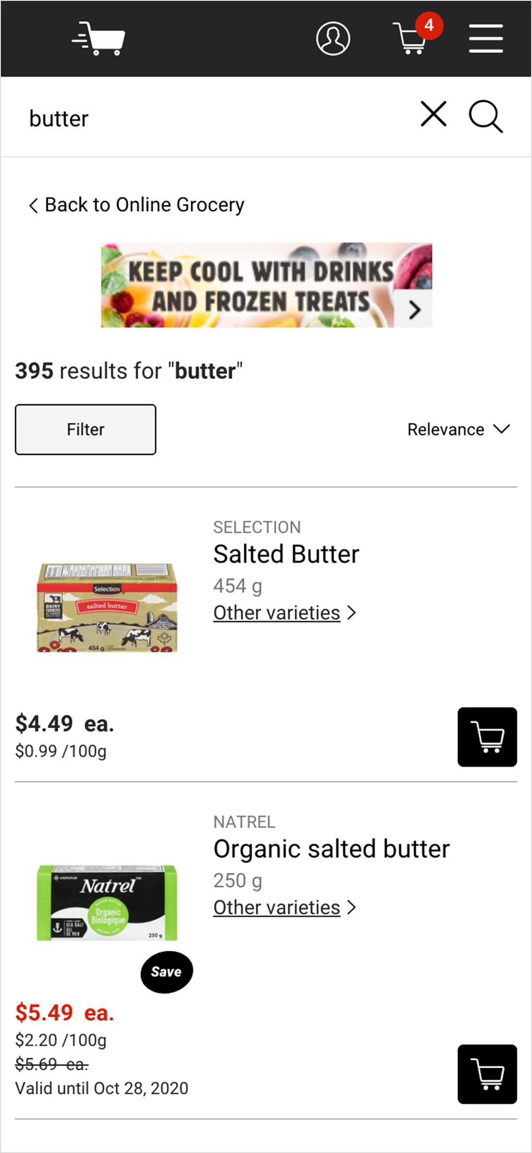Original search results screen