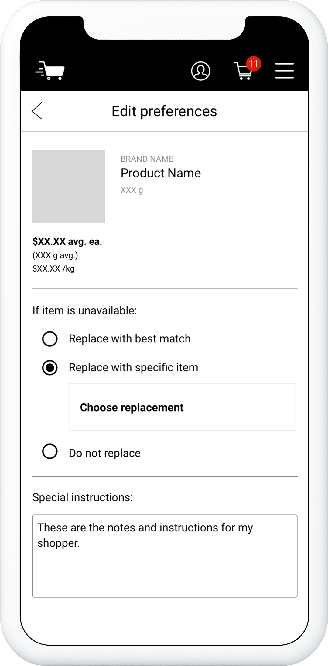 First prototype, edit preferences screen